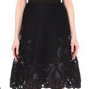 Maje black Jade Embroidered Honeycomb Midi Skirt